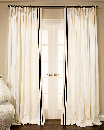Hand Made Grosgrain Ribbon Trimmed Drapes And Roman Blinds